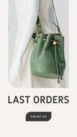 Accessories Sale woman with Green Bag Instagram Story Design Template