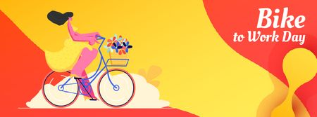 Designvorlage Girl riding with flowers on Bike to work Day für Facebook Video cover