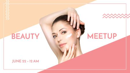 Modèle de visuel Woman applying Cream at Beauty event - FB event cover