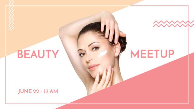Szablon projektu Woman applying Cream at Beauty event FB event cover