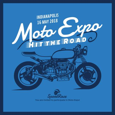 Moto Expo ad with Sport Motorcycle Instagram AD – шаблон для дизайну