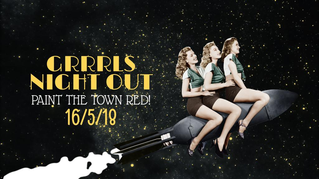 Vintage Party Invitation Girls Flying on Rocket — Create a Design