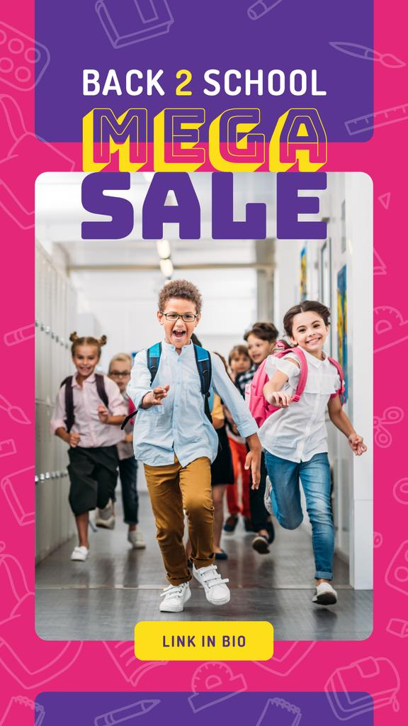 Back to School Sale Running Kids at School — Crea un design