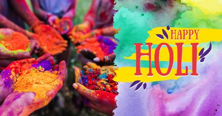Indian Holi festival celebration Facebook AD – шаблон для дизайну