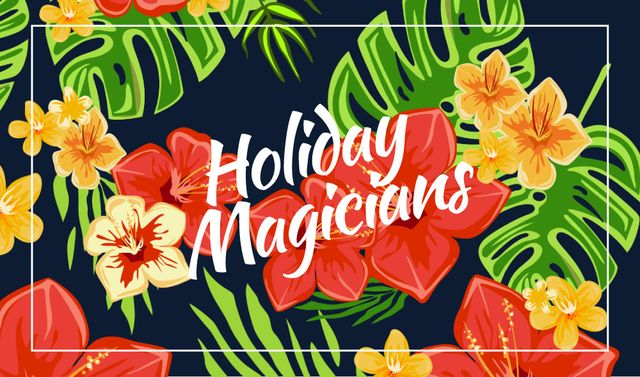 Holiday Organization with Flowers in Tropical Forest Business card Modelo de Design