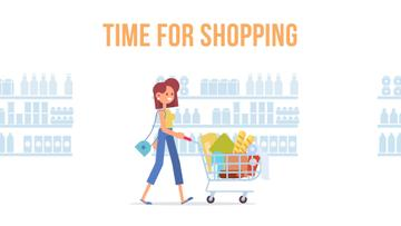 Groceries Shop Ad Woman Pushing Shopping Cart | Full Hd Video Template