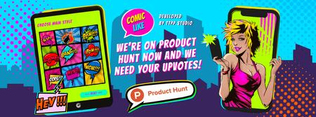Product Hunt Promotion with Girl Taking Selfie on Screen Facebook cover Modelo de Design