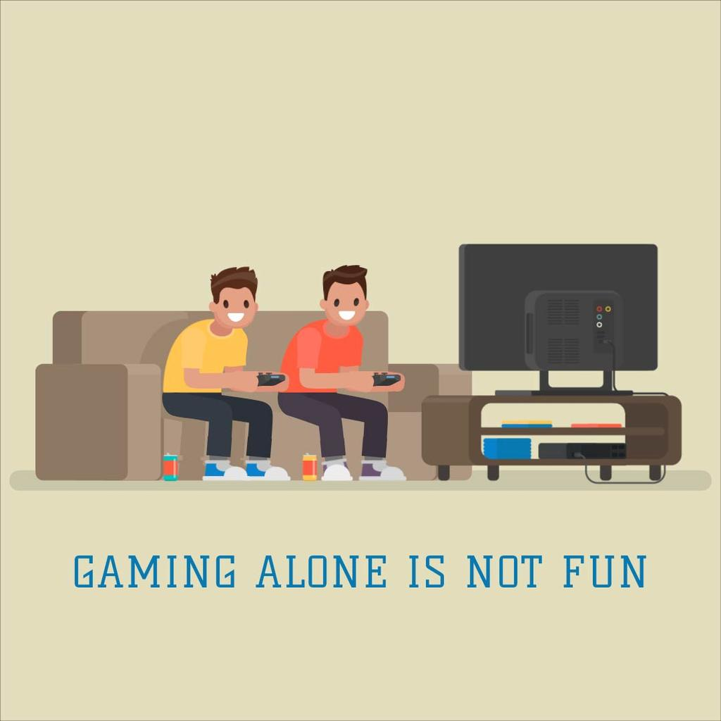 Friends playing video game — Créer un visuel