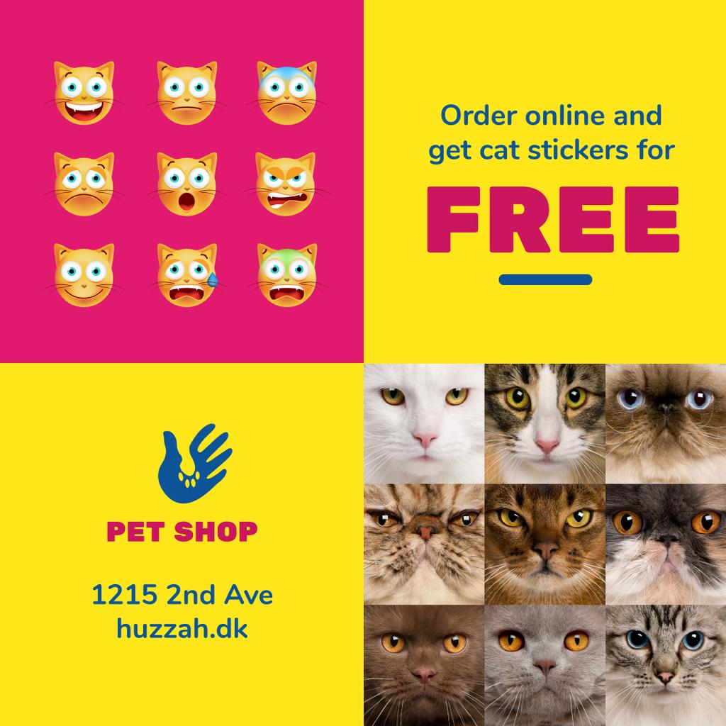 Pet Shop Offer with Cat Faces and Stickers | Instagram Post Template — Створити дизайн