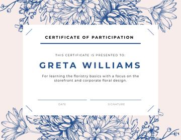 Florist courses Participation confirmation in blue