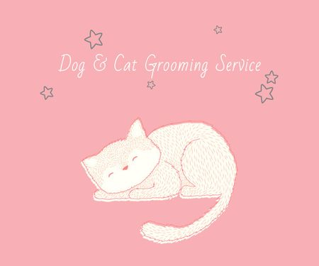 Template di design Dog & Cat Grooming Service Large Rectangle