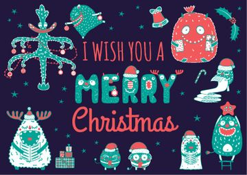 Merry Christmas Card Funny Monsters