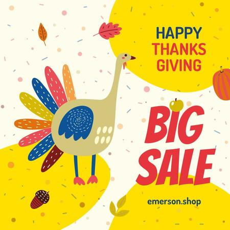 Ontwerpsjabloon van Instagram van Thanksgiving Sale Funny Turkey
