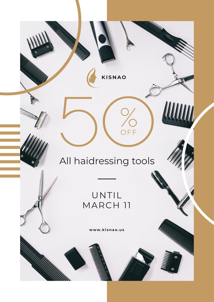 Hairdressing Tools Sale Announcement —デザインを作成する