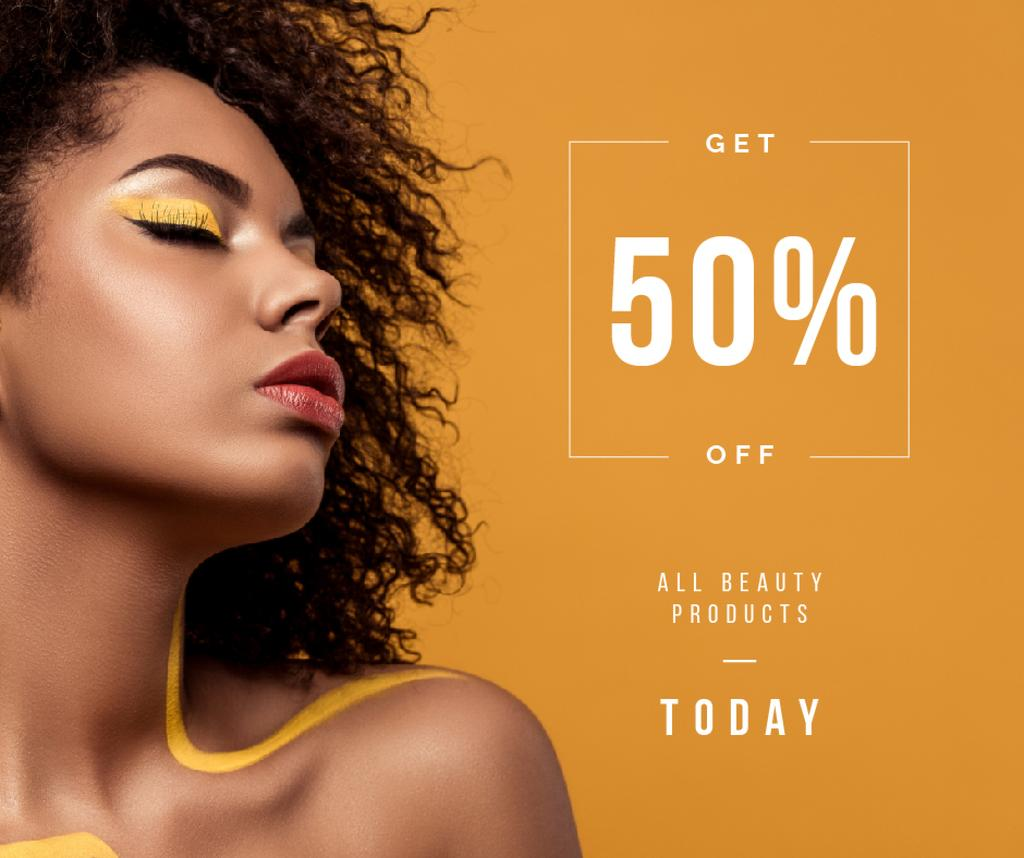 Beauty Products Ad Woman with Yellow Makeup | Facebook Post Template — Crear un diseño