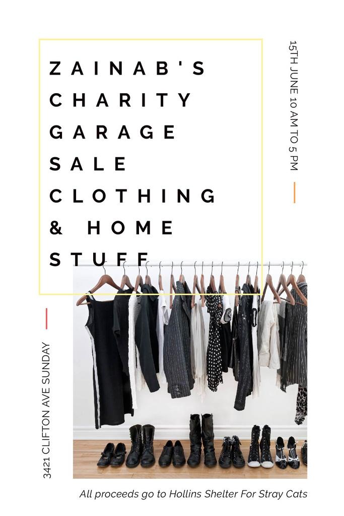 Charity Sale Announcement Black Clothes on Hangers — Crea un design