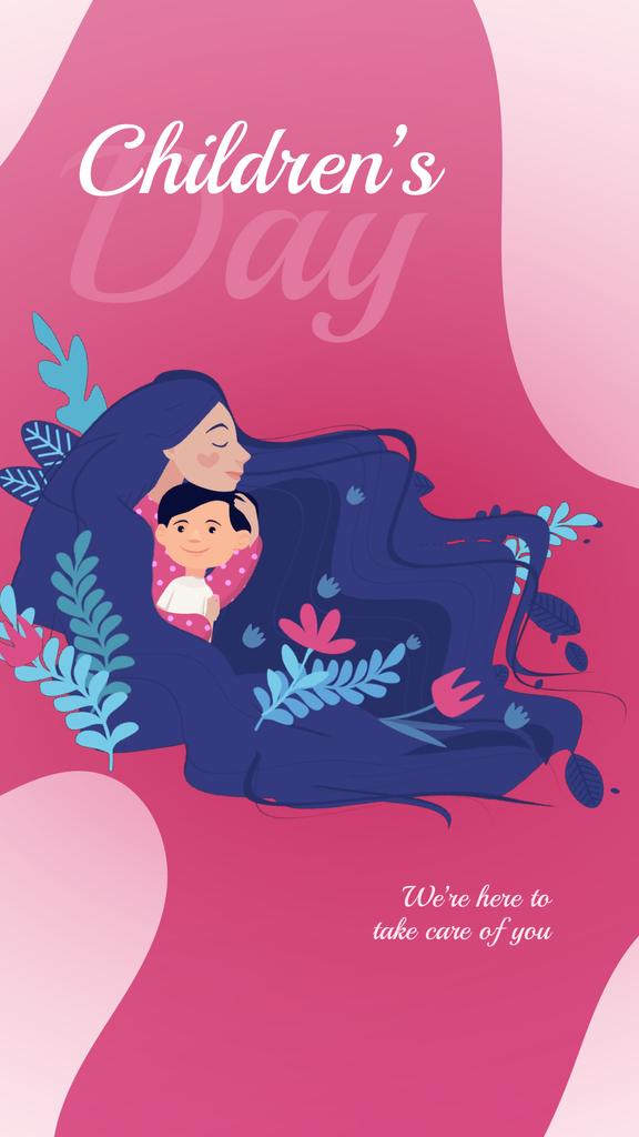 Children's Day Greeting Child with Loving Mother | Vertical Video Template — Crear un diseño
