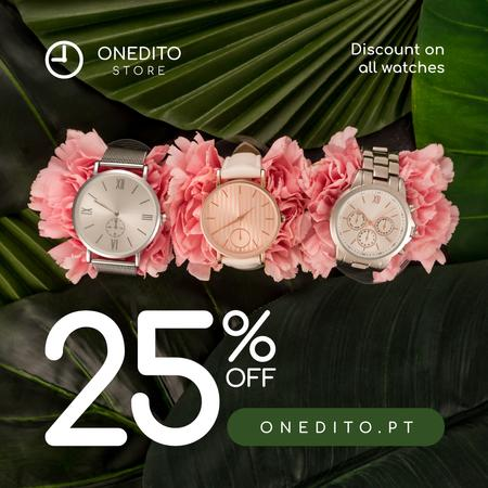 Ontwerpsjabloon van Instagram van Accessories Store Sale Watches on Flowers