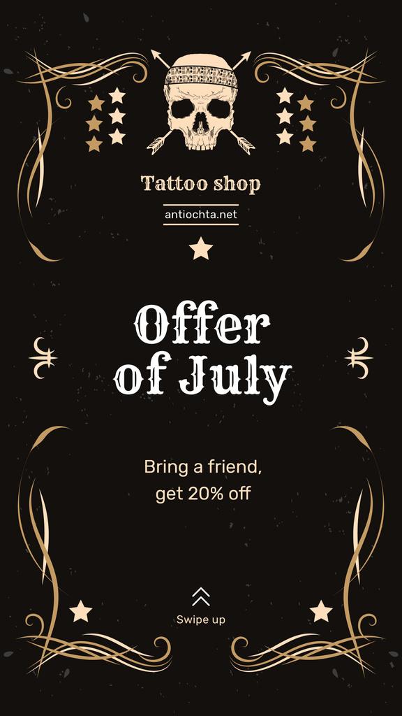 Tattoo Studio Ad Skull in Decorative Frame — Crea un design