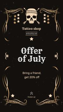 Tattoo Studio Ad Skull in Decorative Frame