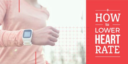 Plantilla de diseño de Woman in heart rate monitor watches Twitter