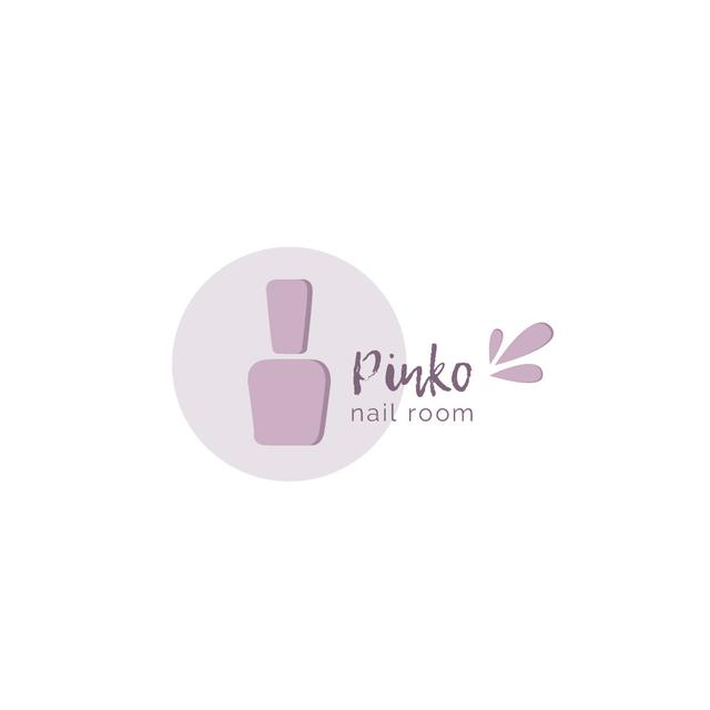 Template di design Nail Room Ad with Polish in Pink Logo
