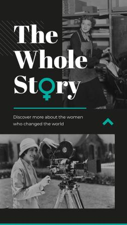 Women of diverse professions of past Instagram Story Modelo de Design