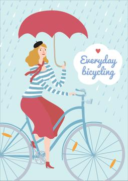 Woman on bicycle in Rainy Day