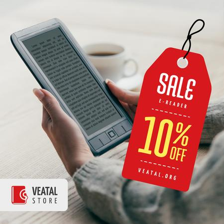Modèle de visuel E-readers Offer Woman Reading Book - Instagram AD