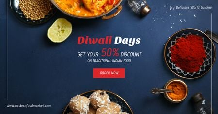 Happy Diwali feast Facebook AD Design Template
