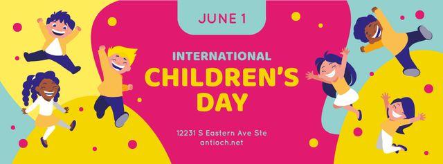 Happy little kids on Children's Day Facebook cover Modelo de Design