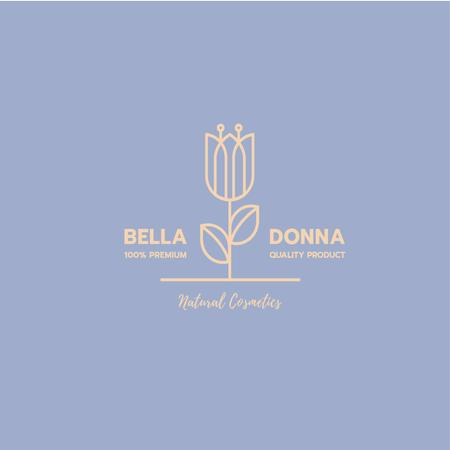 Plantilla de diseño de Natural Cosmetics Ad with Blooming Flower in Blue Logo