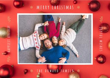 Merry Christmas Greeting Family with Baubles | Card Template