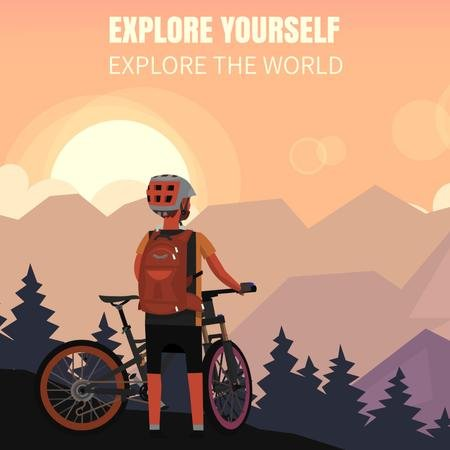Plantilla de diseño de Cyclist admiring mountains view Animated Post