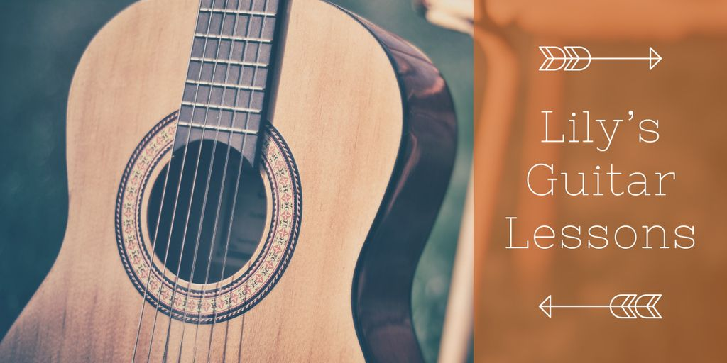 Lily's guitar lessons banner — Crea un design