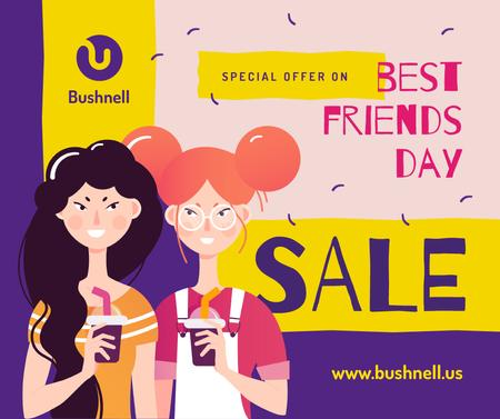 Plantilla de diseño de Two girls with drinks on Best Friends Day Facebook
