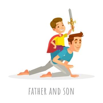 Dad and son playing knights