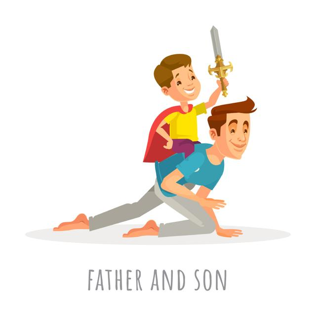 Designvorlage Dad and son playing knights für Animated Post