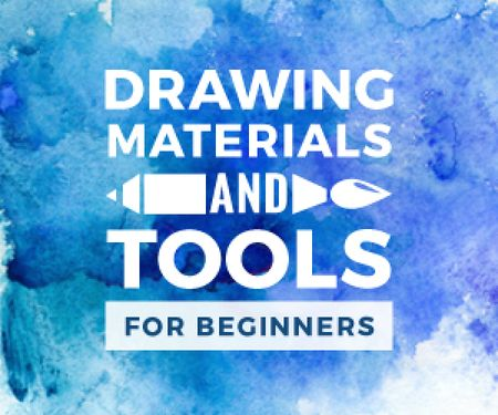 Drawing materials and tools store banner Medium Rectangle Modelo de Design