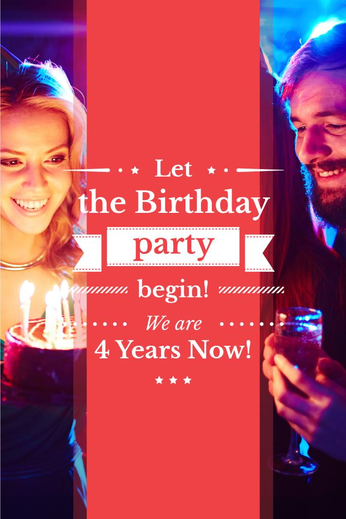 birthday invitation card with young couple and cake Pinterest ...