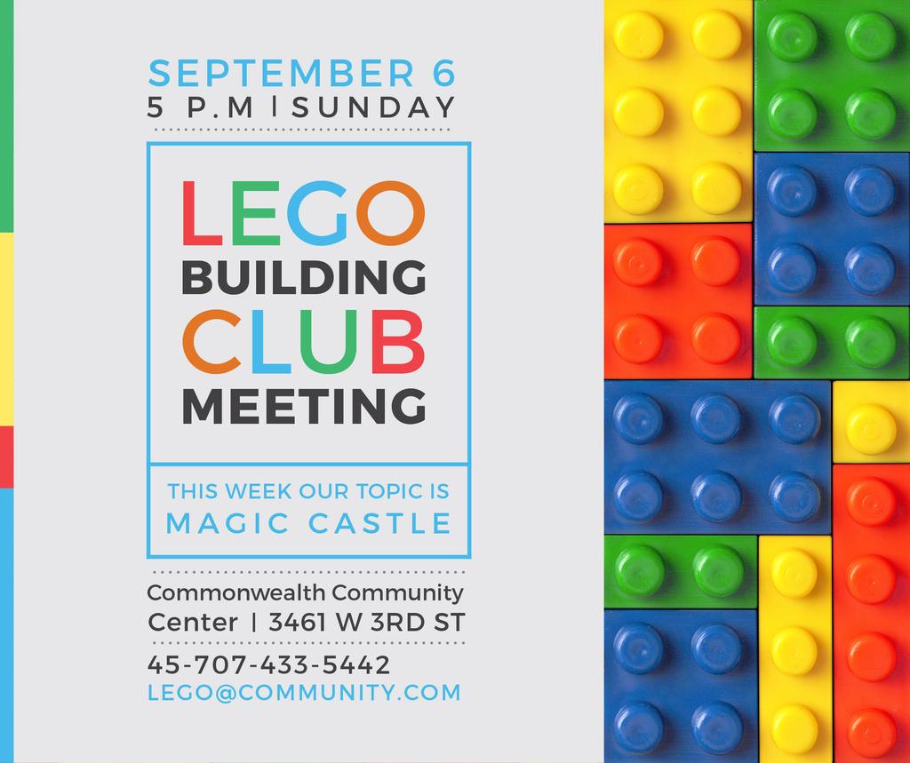 Lego Building Club Meeting Constructor Bricks | Facebook Post Template — Créer un visuel