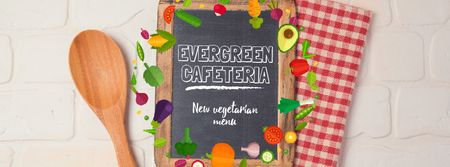Vegetable Menu Frame with Chalkboard Facebook Video cover Modelo de Design