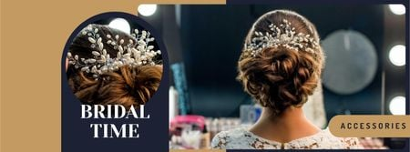 Ontwerpsjabloon van Facebook cover van Wedding hairstyle inspiration Bride with Braided Hair