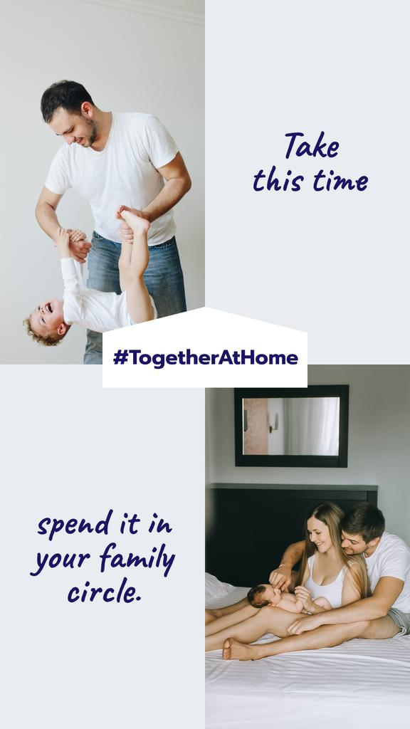 Ontwerpsjabloon van Instagram Story van #TogetherAtHome Family spending time with Child