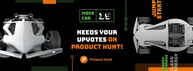 Product Hunt Launch Ad with Sports Car Facebook coverデザインテンプレート