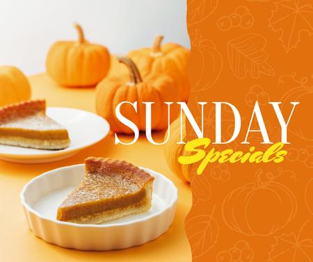 Modèle de visuel Thanksgiving pumpkin pie offer - Facebook