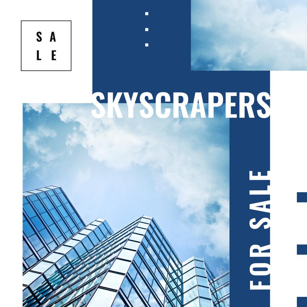 Real Estate Offer Modern Glass Building Instagram AD Modelo de Design