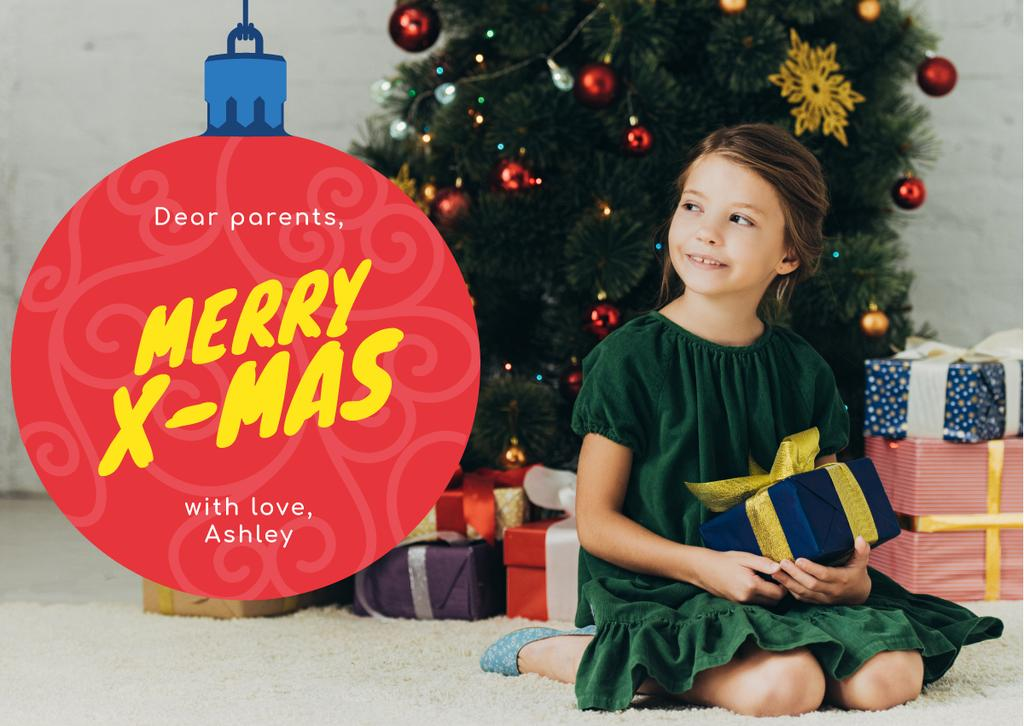Merry Christmas Greeting Little Girl with Presents — Crear un diseño