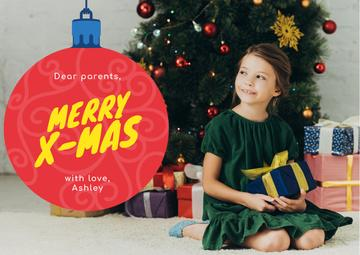 Merry Christmas Greeting Little Girl with Presents