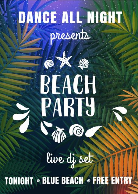 Plantilla de diseño de Bright Beach party Invitation Poster